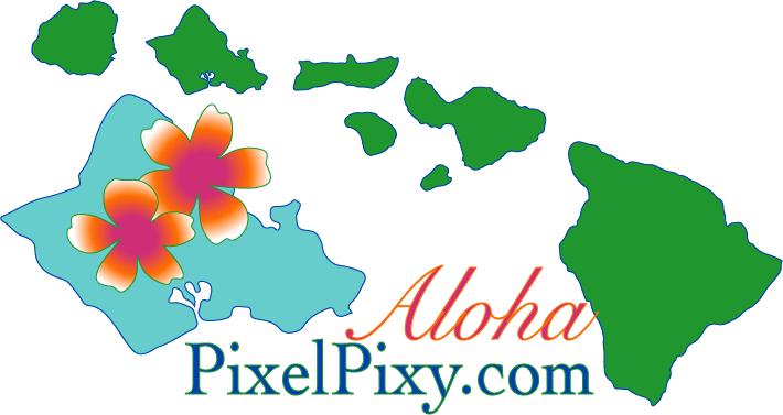 Logo for PixelPixy.co, showing the Hawaiian Islands, with a welcoming aloha.